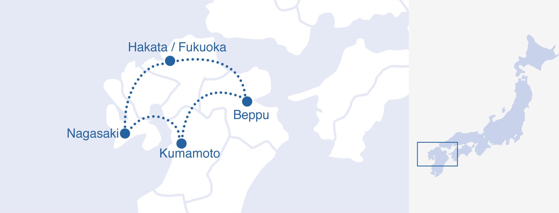 DMC Japan Day Kyushu Tour - Japan map beppu